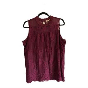 It's our time purple lace overlay tank size 1x